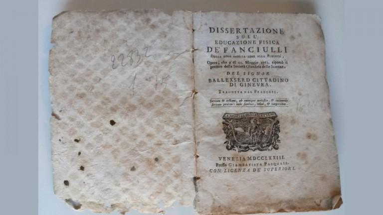 Lettura di un'opera del 1773 Dissertazione sull'educazione fisica de' fanciulli dalla loro nascita fino alla pubertà